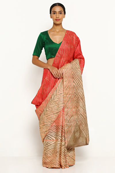 Via East beige orange pure tussar silk saree with all over traditional hand dyed shibori print