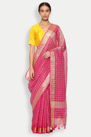 Vibrant Pink Pure Linen Saree with All Over Checked Pattern