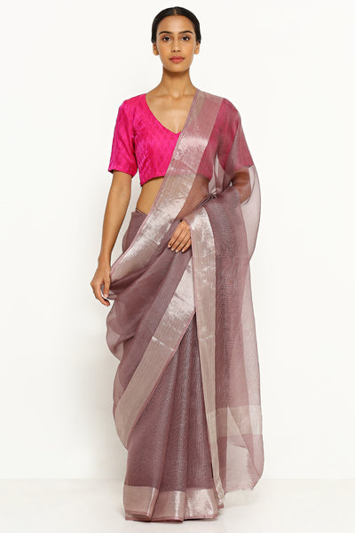 Via East purple pure silk kota saree with silver zari border