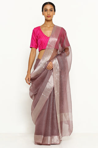 Purple Pure Silk Kota Saree with Silver Zari Border