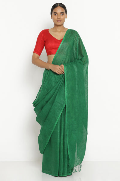 Via East emerald green pure linen saree with tasseled edge