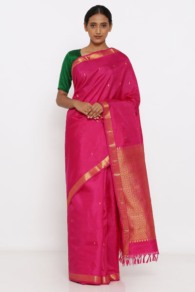Via East pink genuine handloom kanjeevaram silk saree with allover zari motif and rich pallu