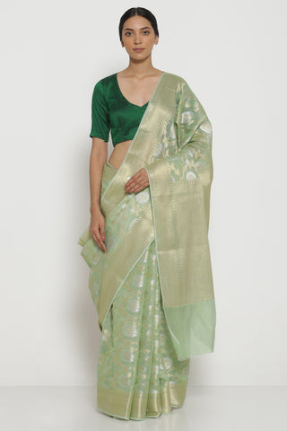 Light Green Pure Silk Cotton Kota Banarasi Saree with All Over Floral Jaal