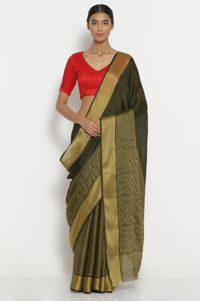 Via East grey pure crepe saree with gold zari striped pattern
