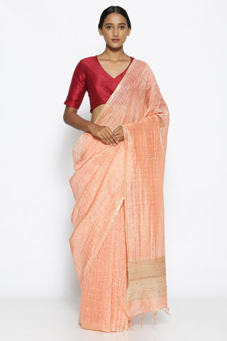Peach Linen Saree with All Over Gold Zari Checked Pattern