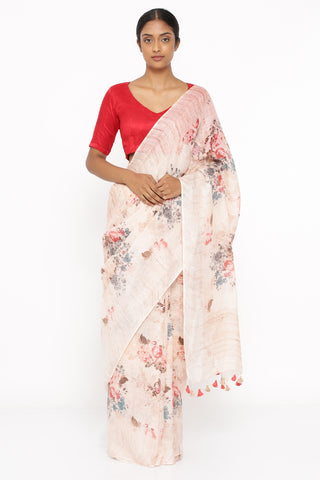 Beige Pure Linen Saree with All Over Watercolour-Effect Floral Print and Silver Zari Border