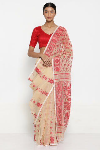 Beige Cotton Dhakai Jamdani Saree with Red Self Weave Motif and Traditional Border