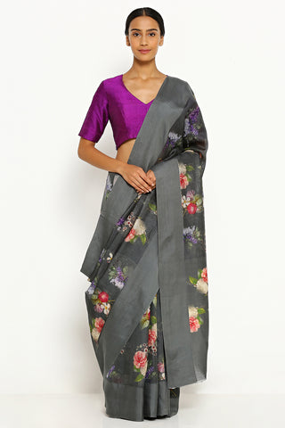 Deep Grey Pure Kota Silk Saree with All Over Floral Print
