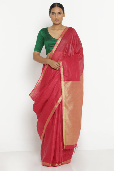 Via East cherry red pure linen saree with solid gold zari pallu