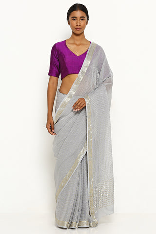 Ash Grey Pure Chiffon Sarees with All Over Silver Zari Checks