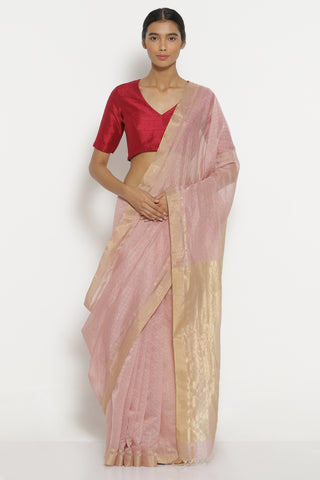 Mauve Handloom Pure Silk Cotton Chanderi Saree with All Over Zari Checks