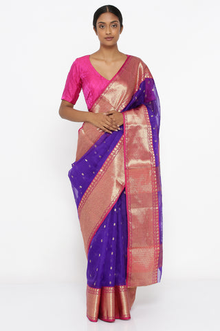 Violet Handloom Pure Chanderi Silk Sheer Saree with All Over Zari Motif and Rich Border