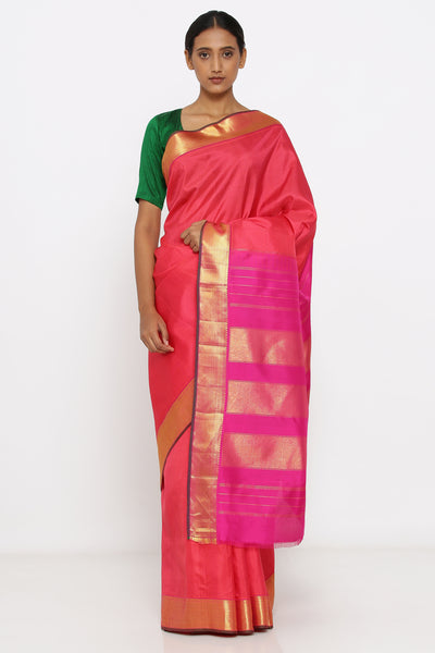 Via East pink genuine handloom kanjeevaram silk saree with allover checked pattern and rich pallu