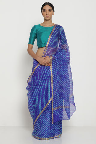Ink Blue Pure Silk Kota Saree with Traditional Leheriya Pattern