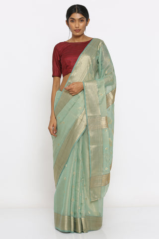 Green Handloom Pure Silk-Tissue Chanderi Sheer Saree with Allover Zari Motif and Intricate Border