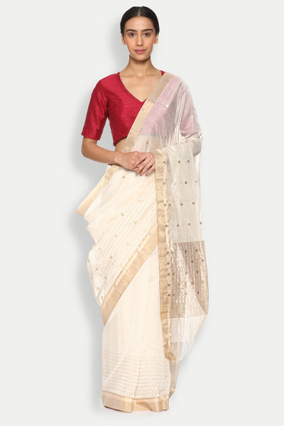 Via East copy of jasmine white handloom silk cotton chanderi saree with striped border