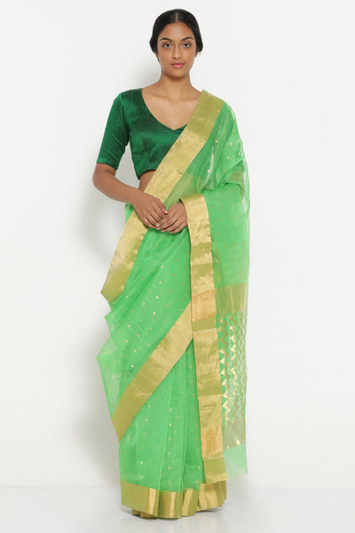 Via East vibrant green handloom pure silk cotton chanderi saree with detailed pallu