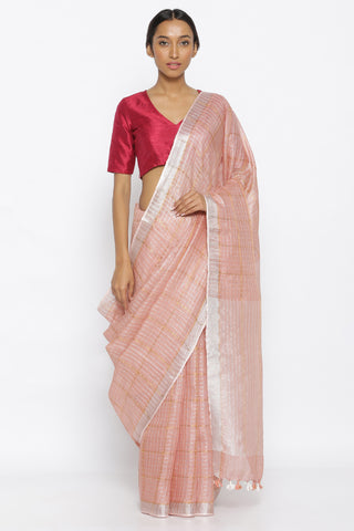 Light Pink Pure Linen Saree with All Over Gold Zari Checked Pattern and Silver Zari Border