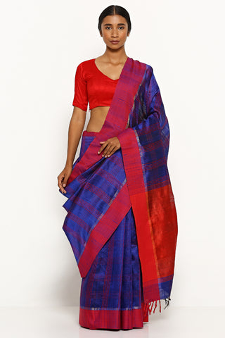Blue Handloom Pure Tussar Silk Saree with Woven Red Border