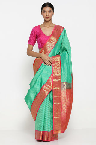 Sea Green Handllom Pure Silk Kanjeevaram Saree with All Over Floral Motifs and Rich Paisley Border