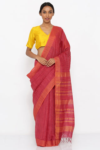 Red Handloom Pure Tussar Silk Saree with Woven Orange Stripes