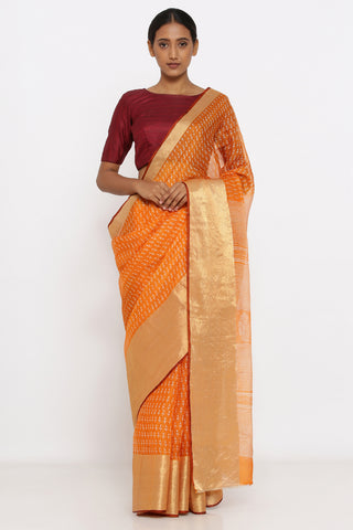 Orange Handloom Pure Kota Silk Saree with Allover Print and Zari Border