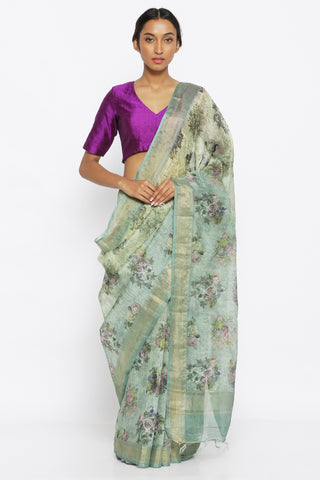 Forest Green Pure Linen Tussar Silk Saree with All Over Floral Print