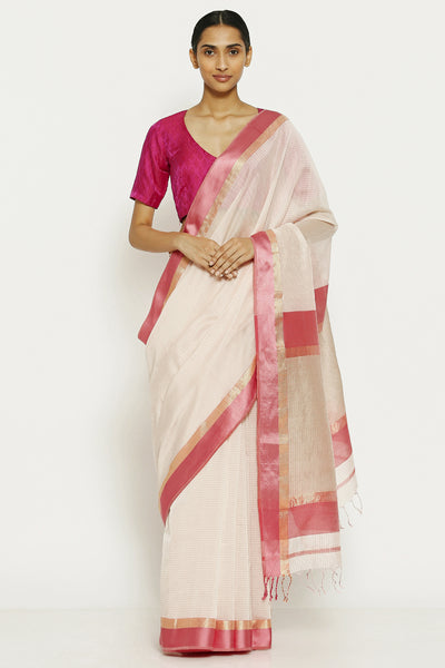 Via East pearl white handloom pure cotton tissue maheshwari saree with all over striped pattern