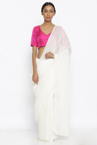 White Handloom Pure Linen Saree with Tasseled Pallu
