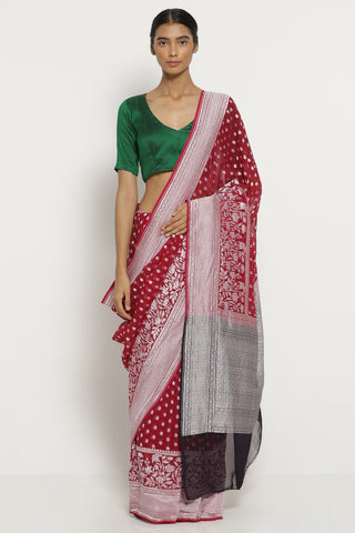 Burgandy Handloom Pure Silk-Georgette Banarasi Saree with All Over Silver Zari Motifs