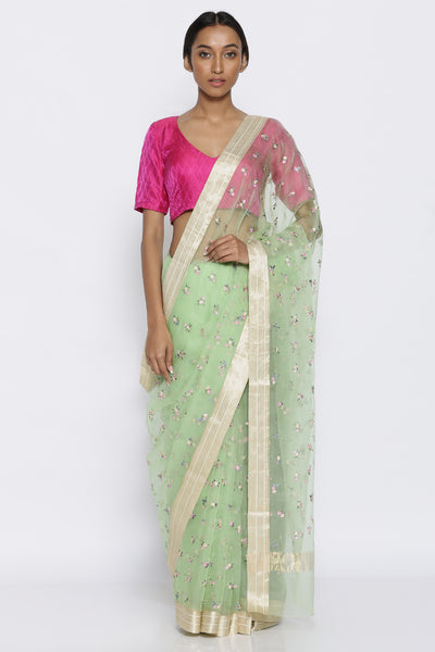 Via East mint green pure silk organza sheer saree with embroidered floral motifs and gold zari border