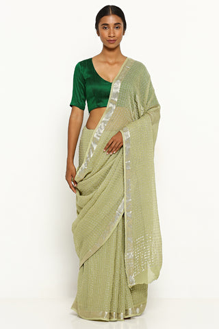 Light Green Pure Chiffon Sarees with All Over Silver Zari Checks