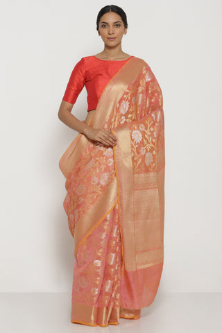Peach Pure Silk Cotton Kota Banarasi Saree with All Over Floral Jaal