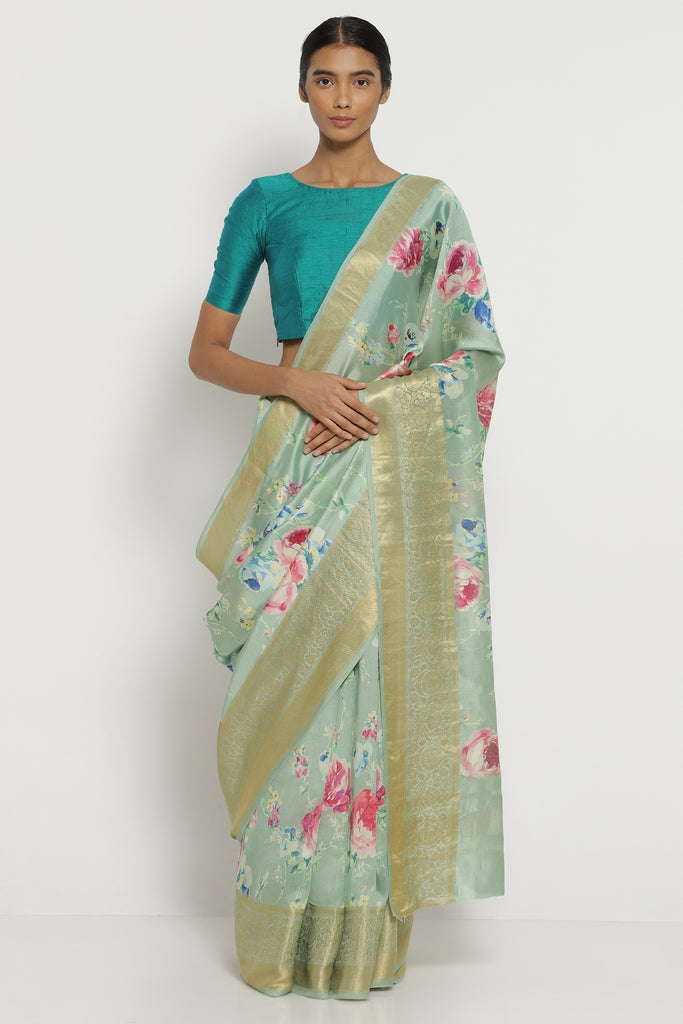 Sea Green Dupion Silk Saree with All Over Floral Print and Detailed Border