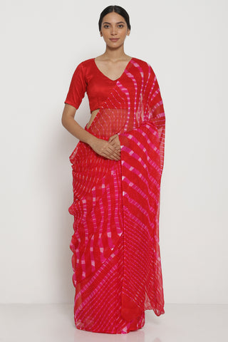 Red and Pink Pure Chiffon Saree with Traditional Leheriya Pattern