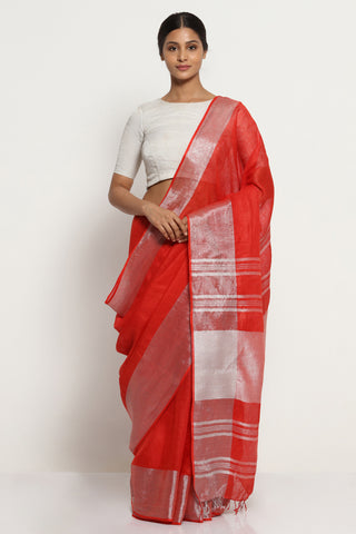 Amaranth Red Pure Linen Saree with Bold Silver Zari Border