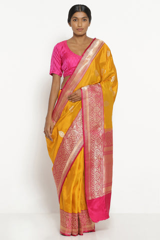 Mustard Yellow Handloom Pure Silk Banarasi Saree with Rich Border