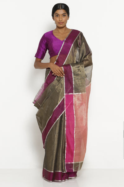 Via East deep brown handloom silk tissue chanderi saree with contrasting pink border