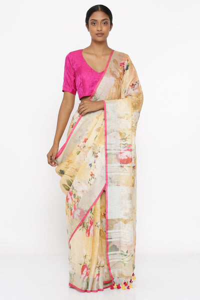 Via East deep yellow pure linen saree with all over floral print and silver zari border