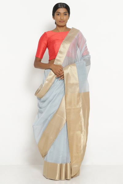 Via East mist blue handloom silk cotton chanderi saree with rich gold border
