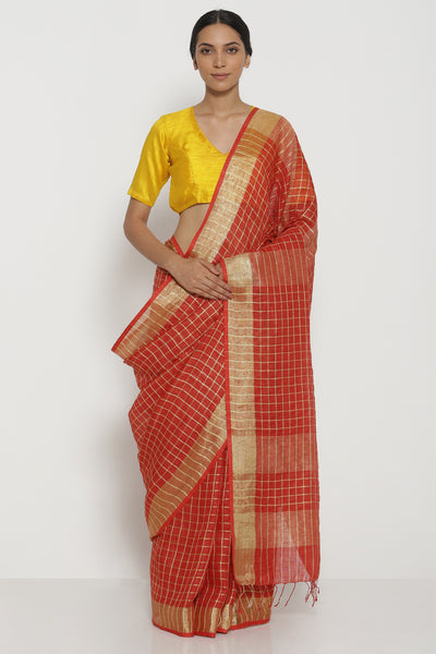 Via East red pure linen saree with all over gold zari checks