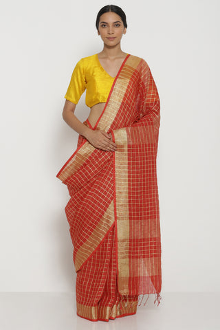 Red Pure Linen Saree with All Over Gold Zari Checks