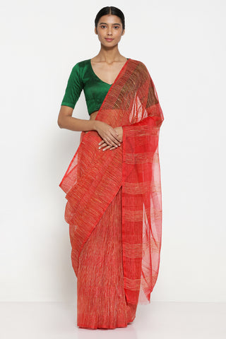 Red Pure Tussar Silk Sheer Saree with All Over Woven Checks