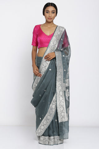 Charcoal Grey Pure Chiffon Banarasi Saree with Contrasting Silver Zari Border