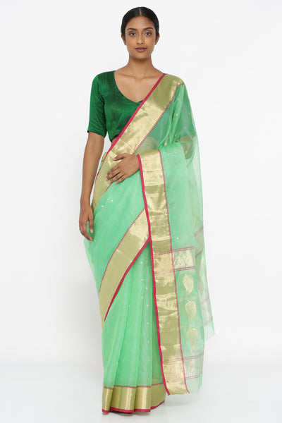 Via East mint green handloom pure chanderi silk sheer saree with all over zari buttas and rich ari border