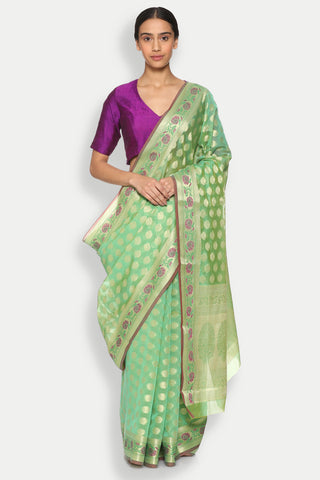Green Cotton Banarasi Saree with All Over Floral Motifs