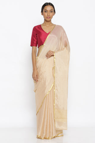 Beige Pure Crepe Saree with  Mukaish Work and Gold Zari Border