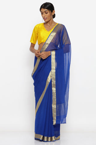Deep Blue Pure Chiffon Sheer Saree with Gold Zari Border