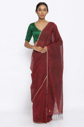 Maroon Handloom Pure Cotton Saree with All Over Zari Motifs and Detailed Pallu