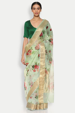 Mint Green Pure Silk-Organza Sheer Saree with Detailed Woven Zari Border